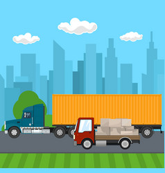 truck and small cargo van drive on the road vector image