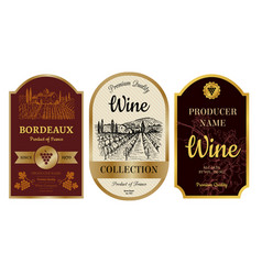 vintage wine labels alcohol badges with pictures vector image
