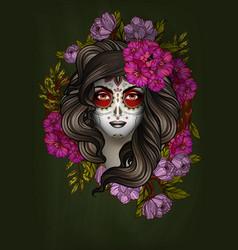 woman with calavera makeup day dead dia vector image