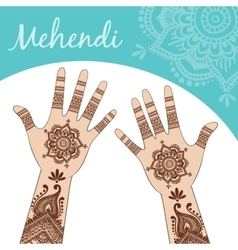 Women hands palms up Mehendi vector