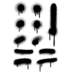 Black spray paint with drips isolated on white vector