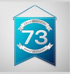 blue pennant with inscription seventy three years vector image vector image