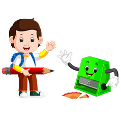 boy holding big pencil and sharpener vector image