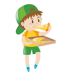 little boy eating pizza vector image