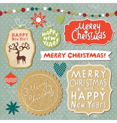 Set of Christmas and New Year elements vector image vector image
