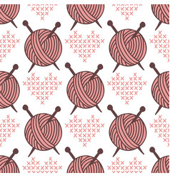 Yarn clew ball seamless pattern sewing wrapping vector