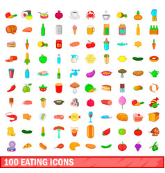 100 eating icons set cartoon style vector image
