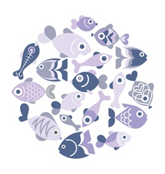 Blue Fishes vector image vector image
