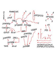 business concept elements arrows and alphabet set vector image