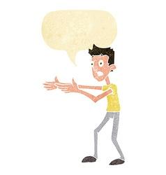 Cartoon man desperately explaining with speech vector