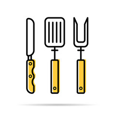 knife fork and spatula for grilling - linear icon vector image