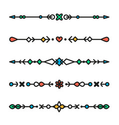 set of colorful line geometric dividers vector image vector image