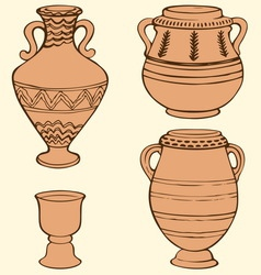 ancient vases with geometric ornament vector image vector image