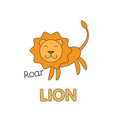 cartoon lion flashcard for children vector image vector image