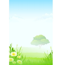 Green Landscape with clouds flowers and one Tree vector image vector image