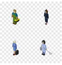 Isometric person set of plumber hostess vector