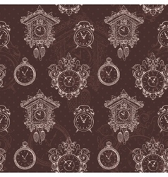 Old vintage clock seamless pattern vector image