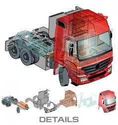 semi truck info graphics vector image vector image