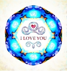 Abstract heart I love you card background vector image