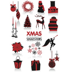 christmas silhouettes vector image vector image