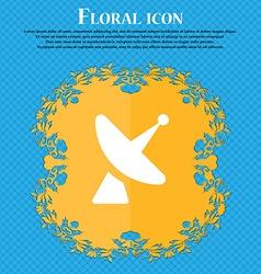 Satellite dish Floral flat design on a blue vector image
