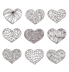 Set of hand drawn hearts Ornate ink drawing vector image