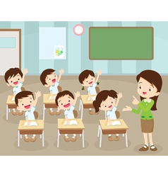 Students hand up in Classroom vector image