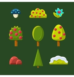 Trees Bushes and Flower Set vector image