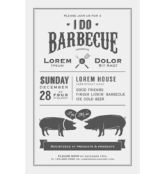 Vintage i do barbecue wedding invitation card vector