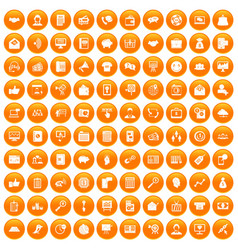 100 viral marketing icons set orange vector