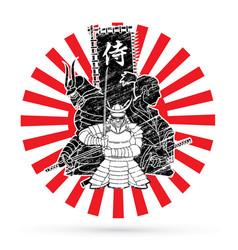 3 samurai composition designed on sunlight vector