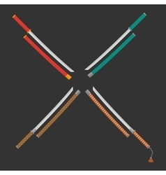 4 katanas set vector