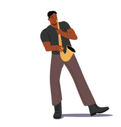 African male character playing saxophone isolated vector