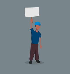 Afro-american with a poster in his hands vector