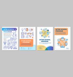 After school program cover design brochure vector