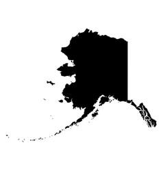 alaska ak state map usa black silhouette solid vector image