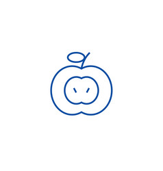 apple sign line icon concept apple sign flat vector image