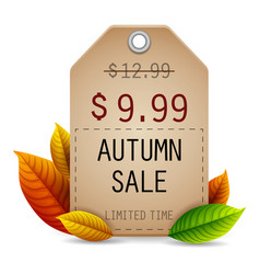 autumn leaves sale tag isolated on white backgroun vector image