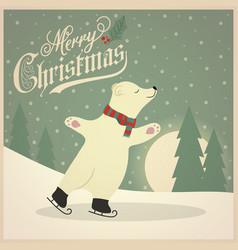 beautiful retro christmas card with polar bear vector image