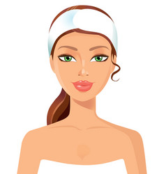 Beautiful young woman perfect face with towel ski vector