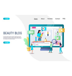 beauty blog website landing page design vector image