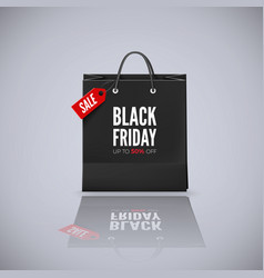 Black friday offer bag with red tag sale and text vector
