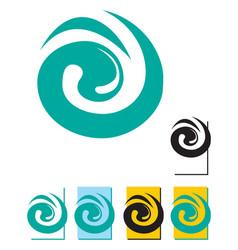 blue swirl logo template vector image