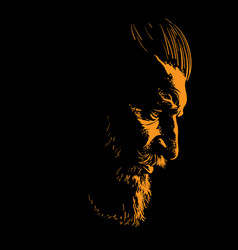 Brutal bearded man portrait in backlight vector