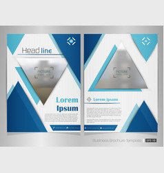 business brochure of blue color in triangle shape vector image