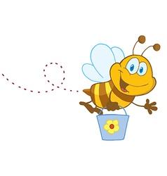 Cartoon Character Bee Flying Bucket vector