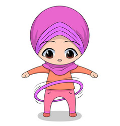 Chibi muslim female cartoon character hulahop vector