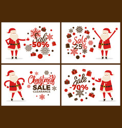 Christmas sale clearance banner with santa claus vector