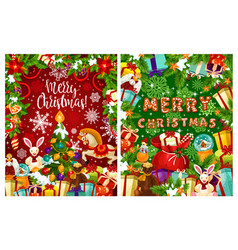 Christmas tree with gift for winter holidays card vector