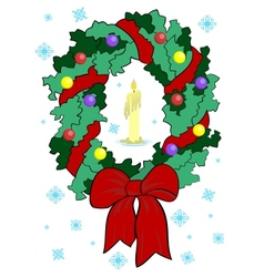Christmas wreath with candle vector image